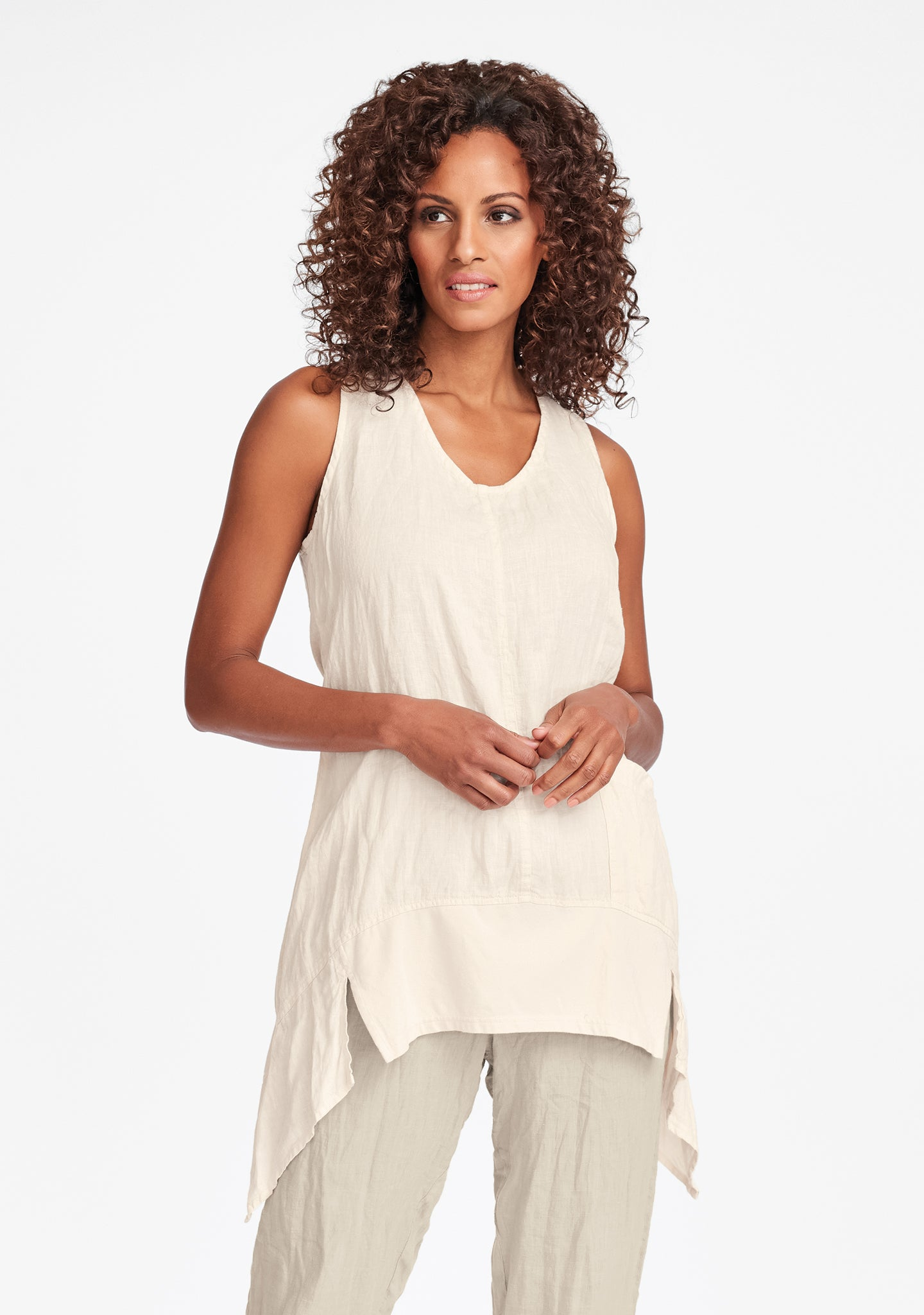 park tunic linen tank top white