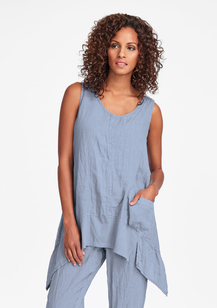 park tunic linen tank top blue