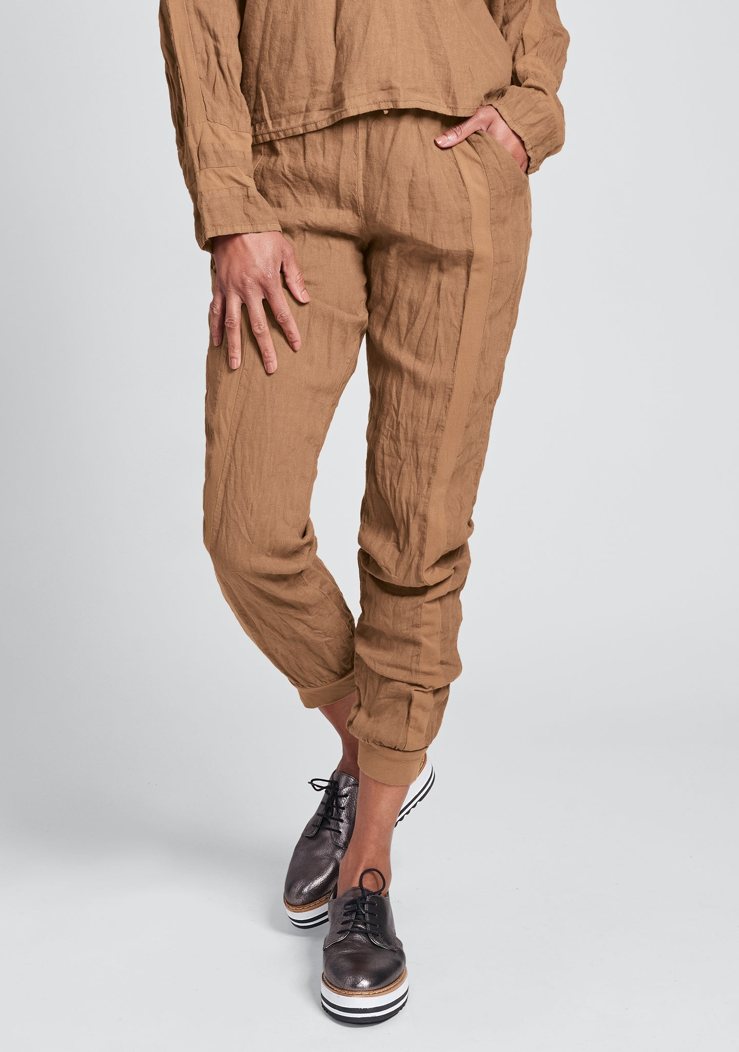 patriot pant linen drawstring pant orange