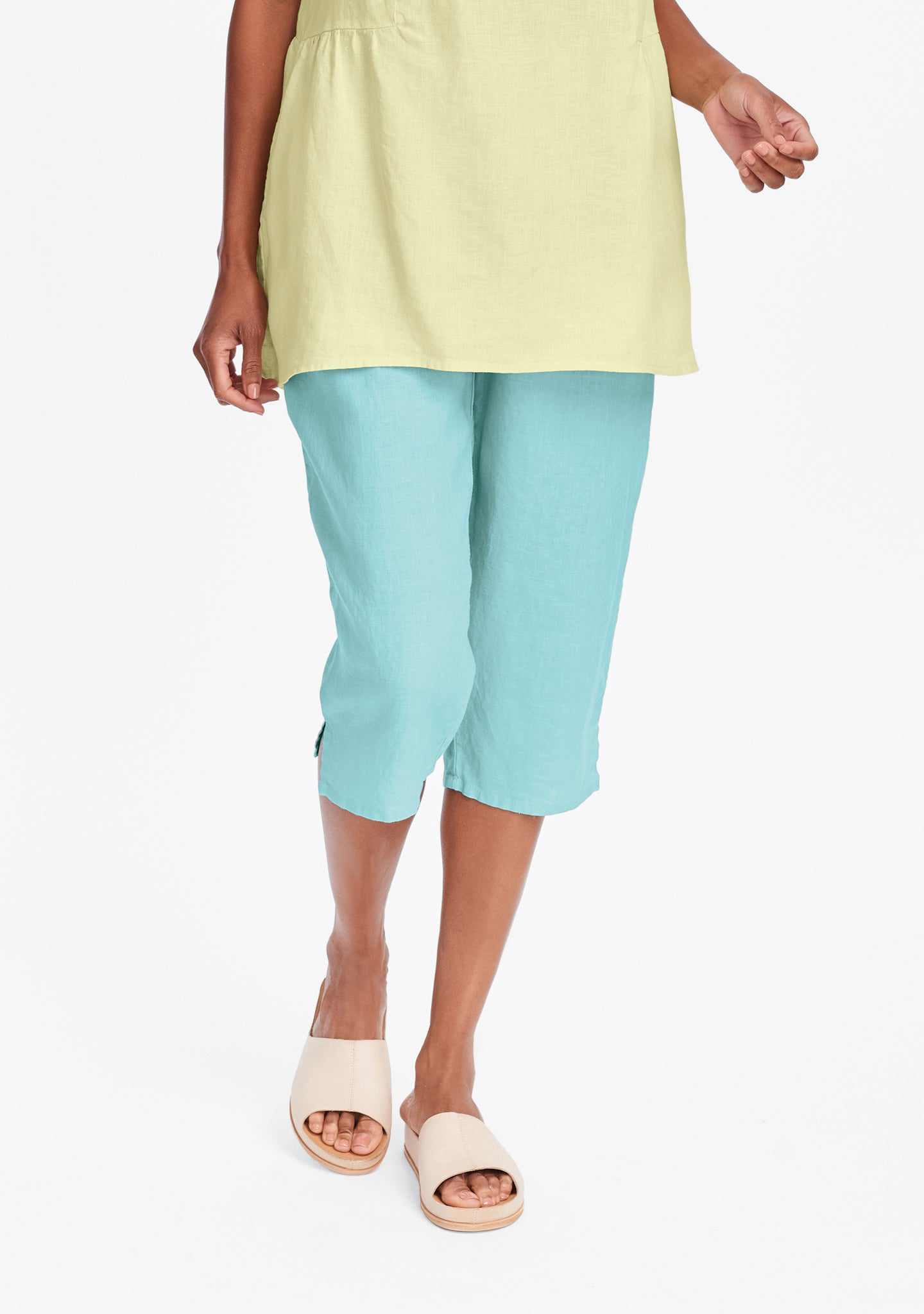 pedal pant linen crop pants blue