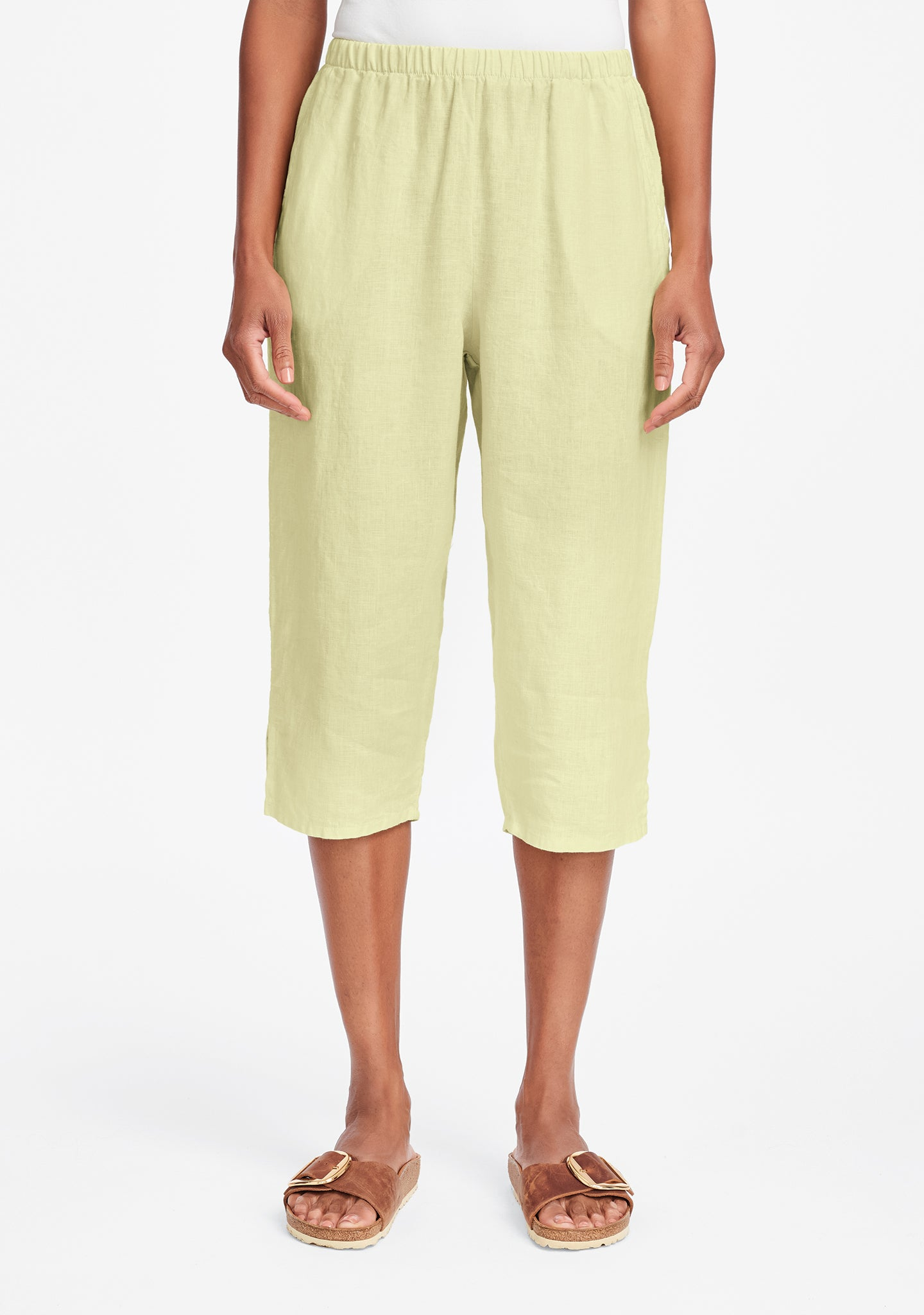 pedal pant linen crop pants yellow
