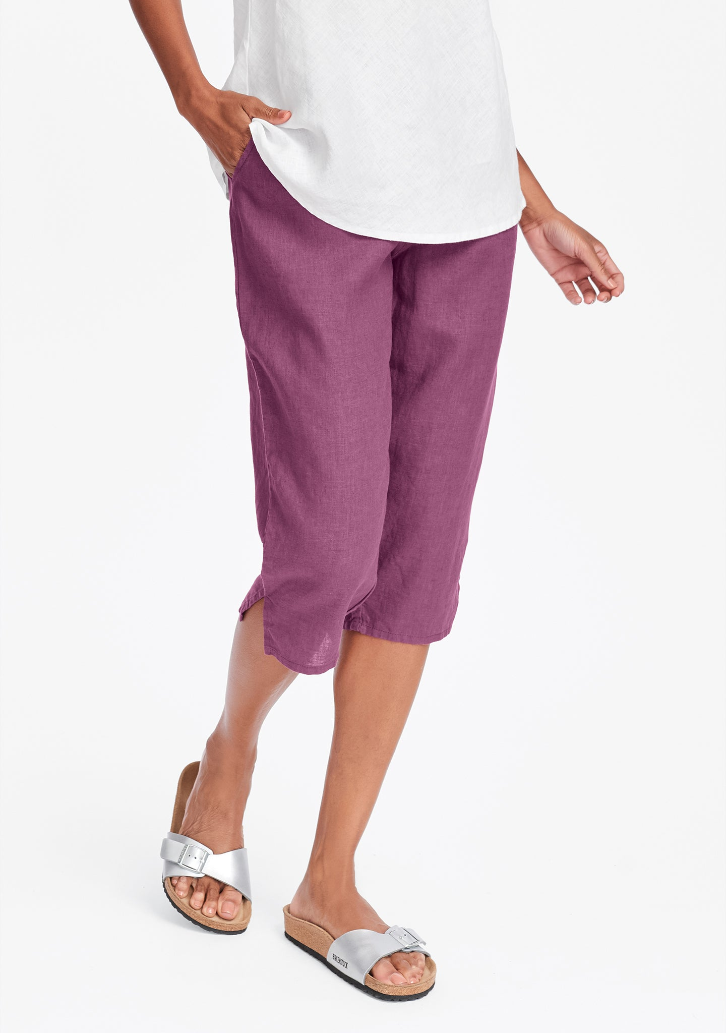 pedal pant linen crop pants purple
