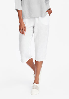 pedal pant linen crop pants white