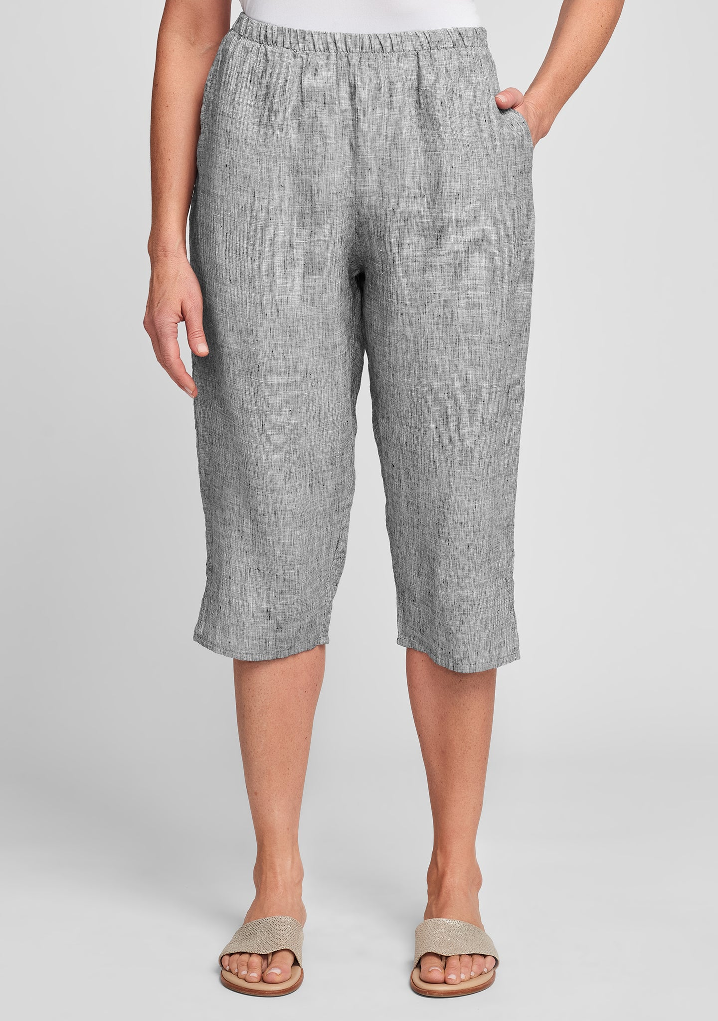 pedal pant linen crop pants grey