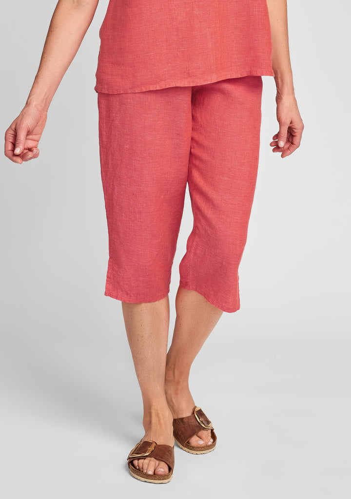 pedal pant linen crop pants red