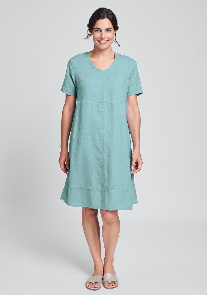 play date linen dress blue