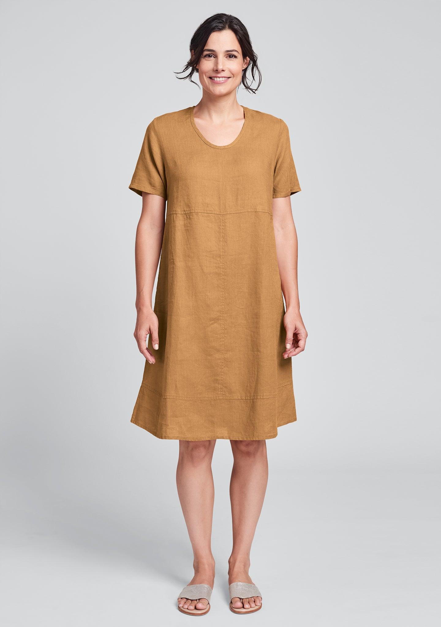 play date linen dress orange