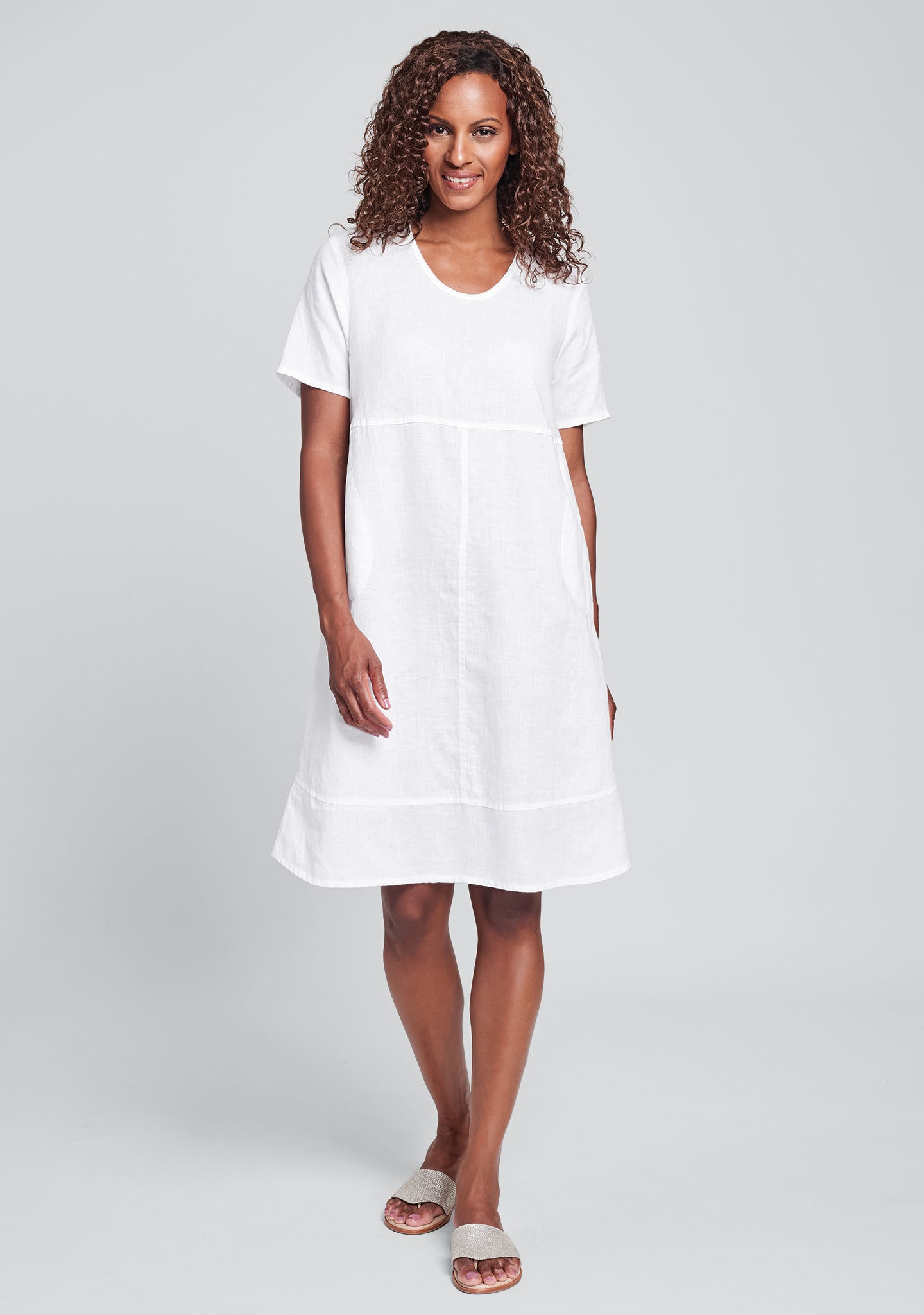 play date linen dress white