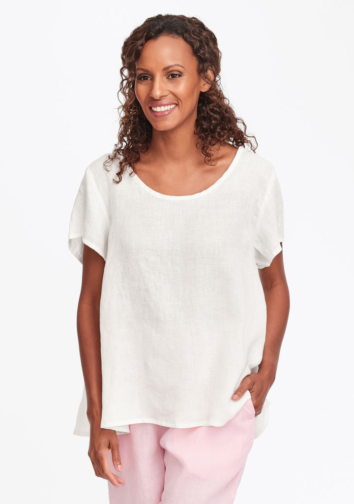 playful top linen t shirt white