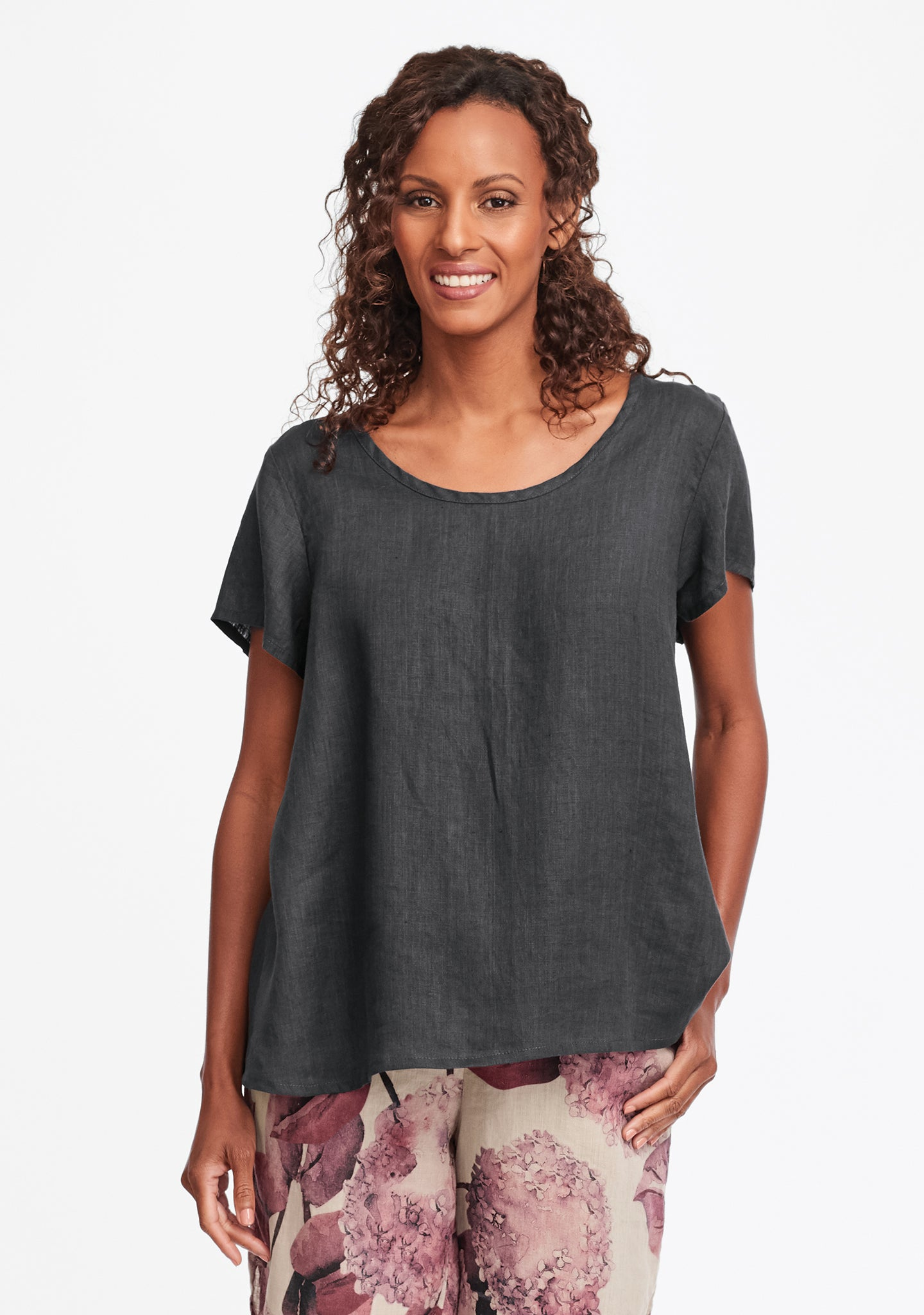 playful top linen t shirt grey