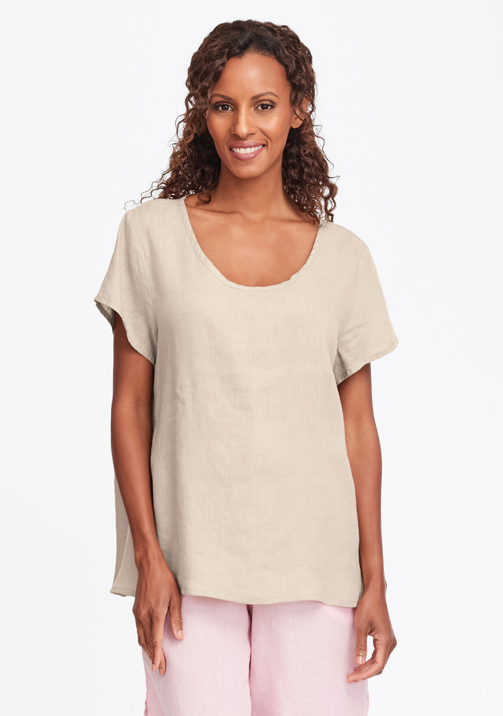 playful top linen t shirt natural