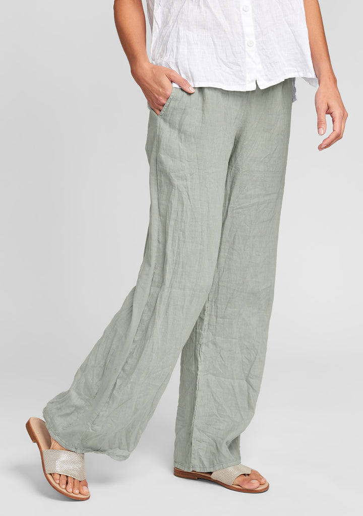 plaza pant linen drawstring pants green