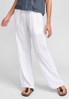 plaza pant linen drawstring pants white