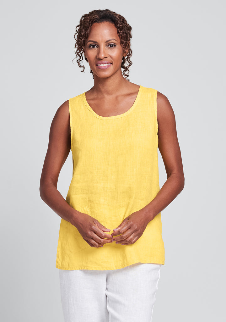 pocket tank linen tank top yellow