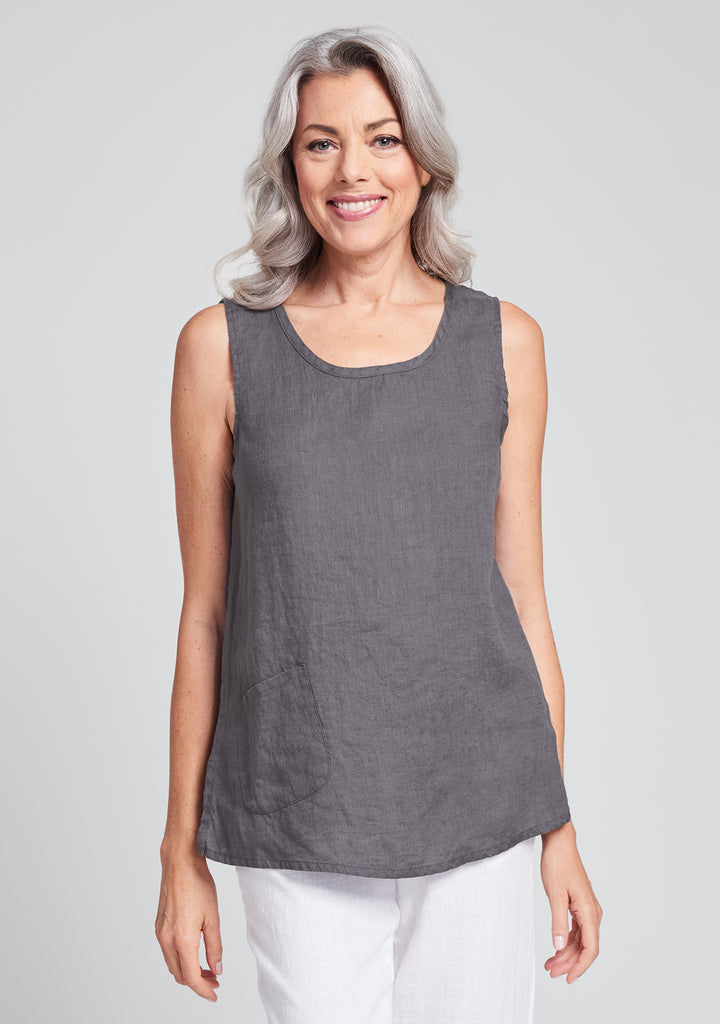 pocket tank linen tank top grey