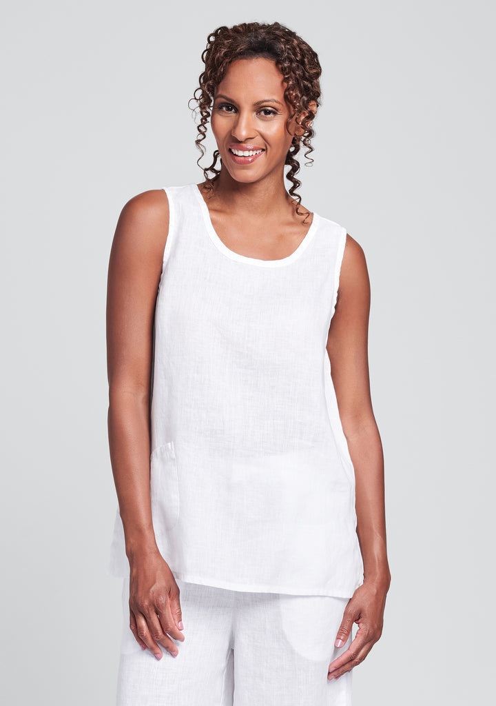 pocket tank linen tank top white