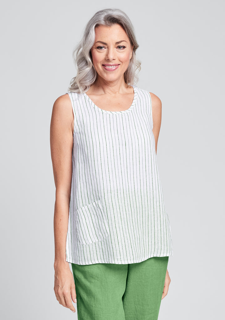 pocket tank linen tank top green