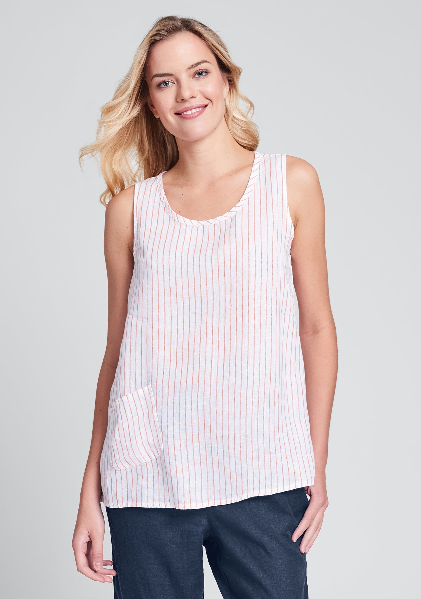 pocket tank linen tank top red