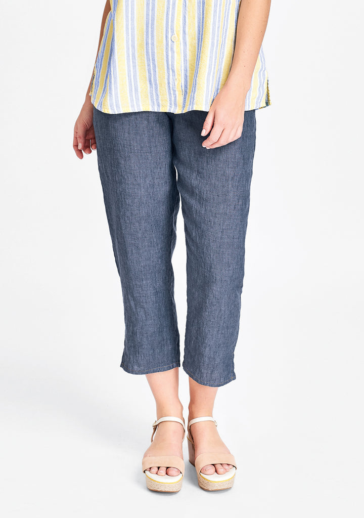 pocketed ankle pant blue