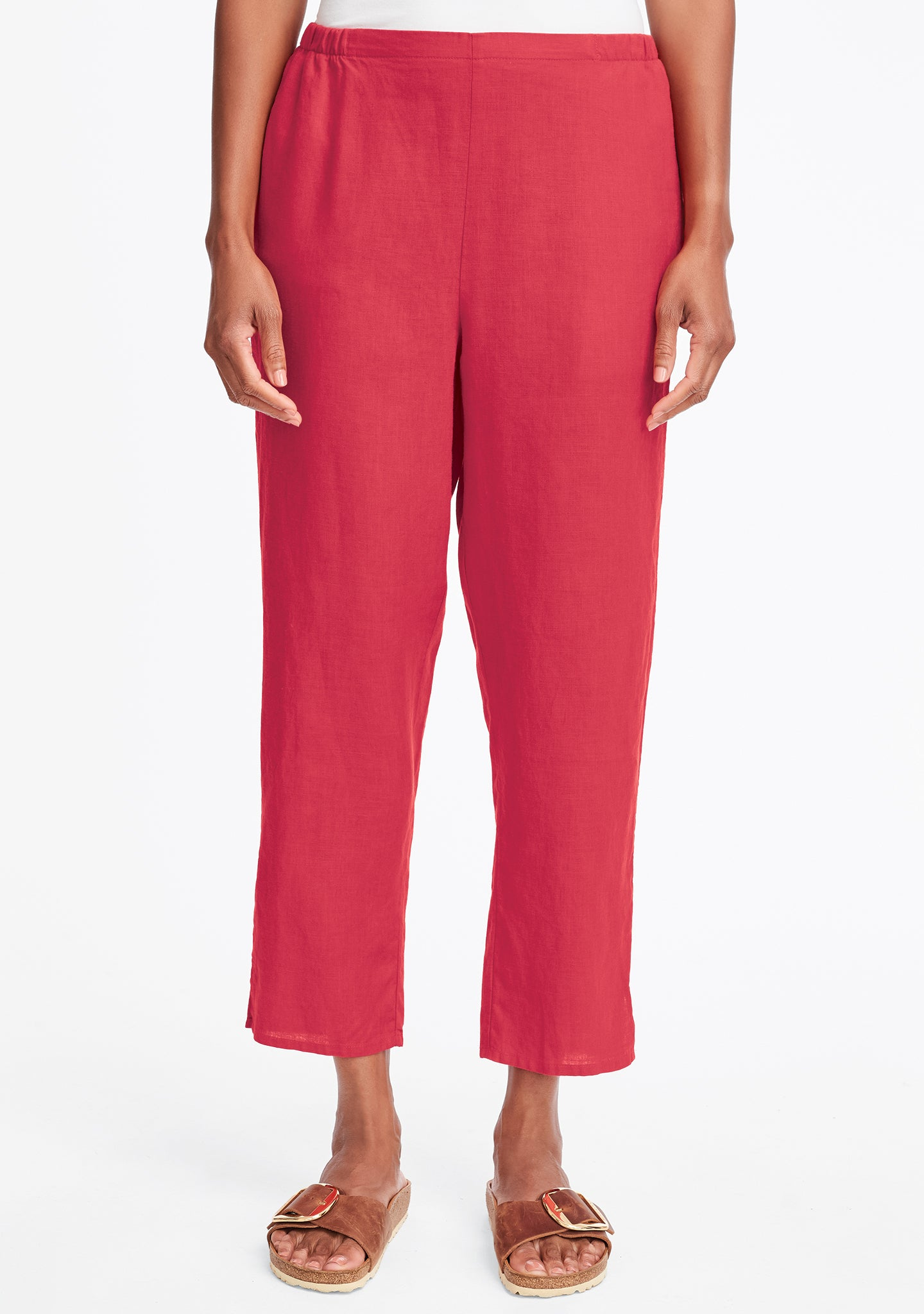 pocketed ankle pant linen pants red