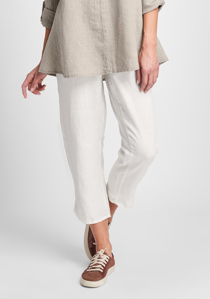 pocketed ankle pant linen pants white