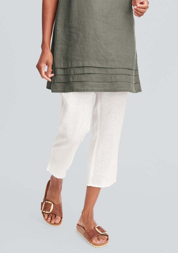 pocketed ankle pant linen pants green