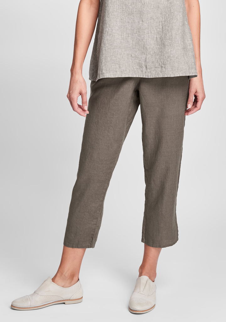 pocketed ankle pant linen pants brown