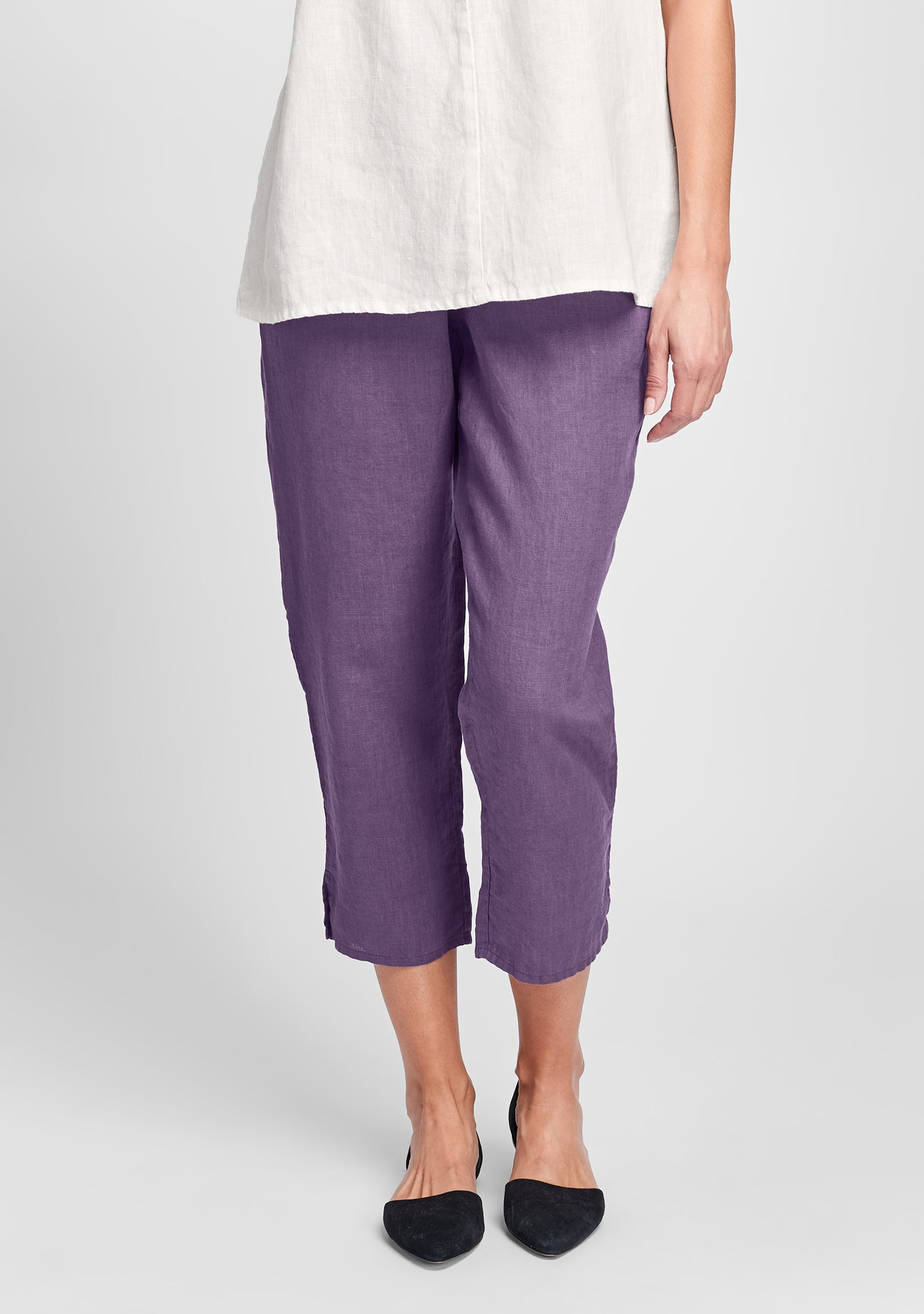 pocketed ankle pant linen pants purple