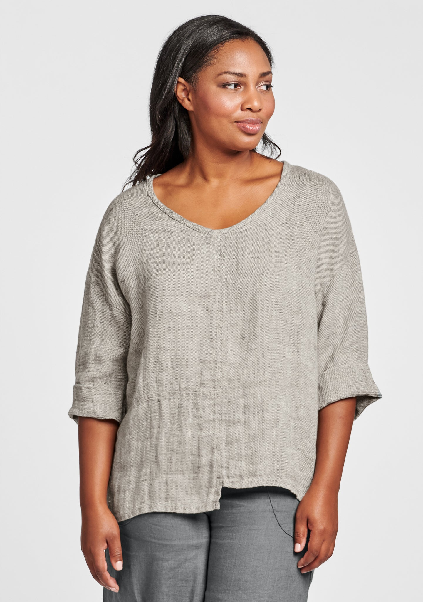 poet top linen shirt grey