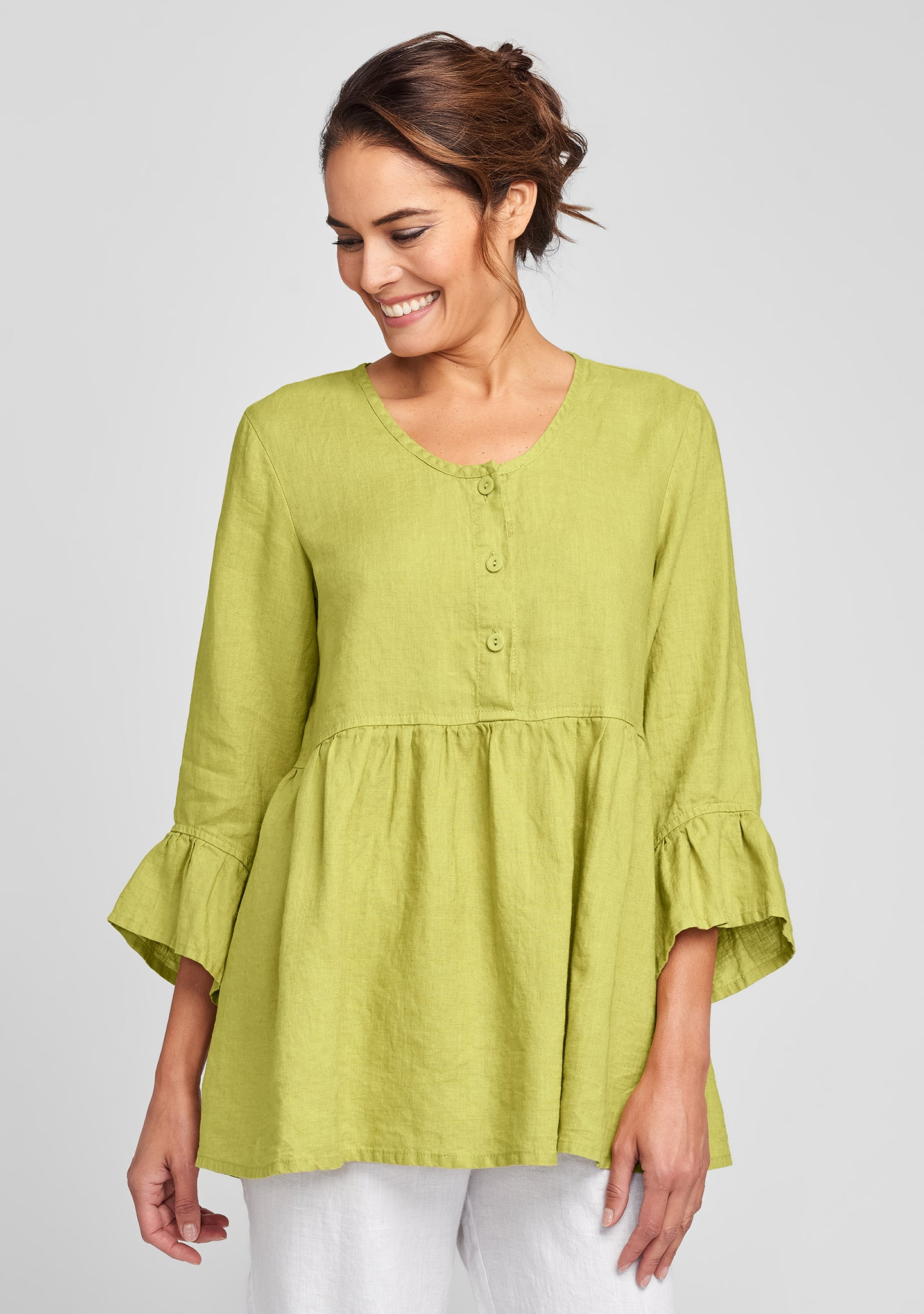 provence blouse linen shirt green