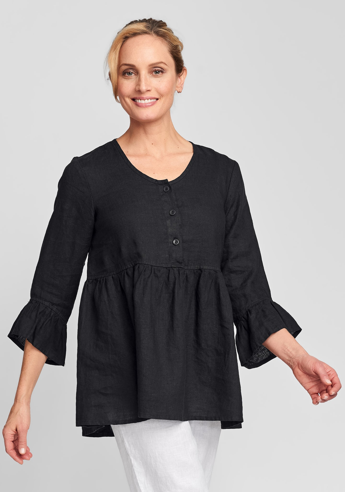 provence blouse linen shirt black