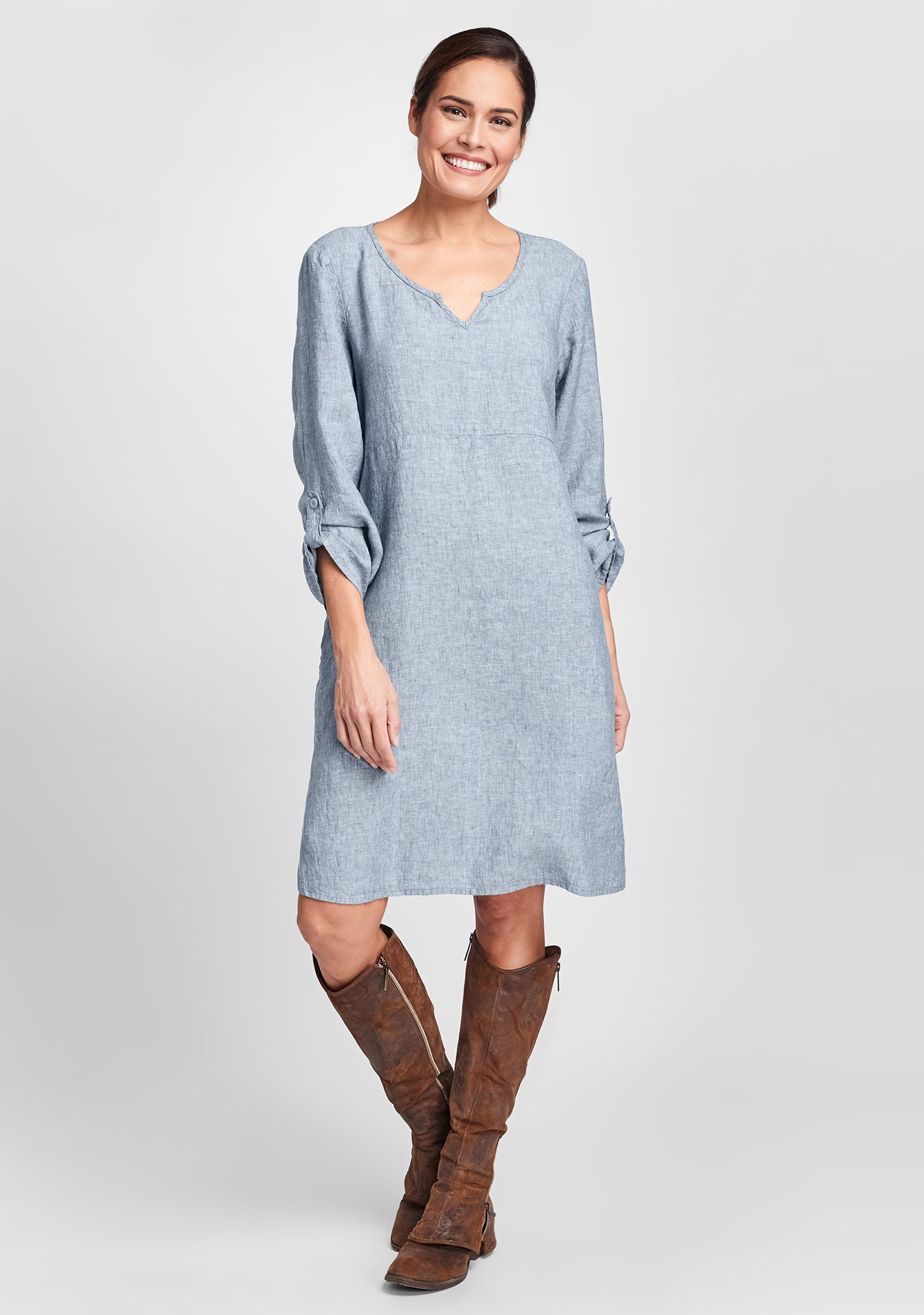 pullover dress long sleeve linen dress blue
