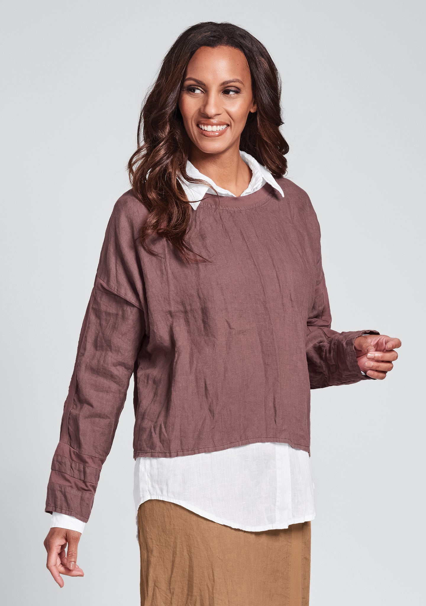 quincy top long sleeve linen shirt purple