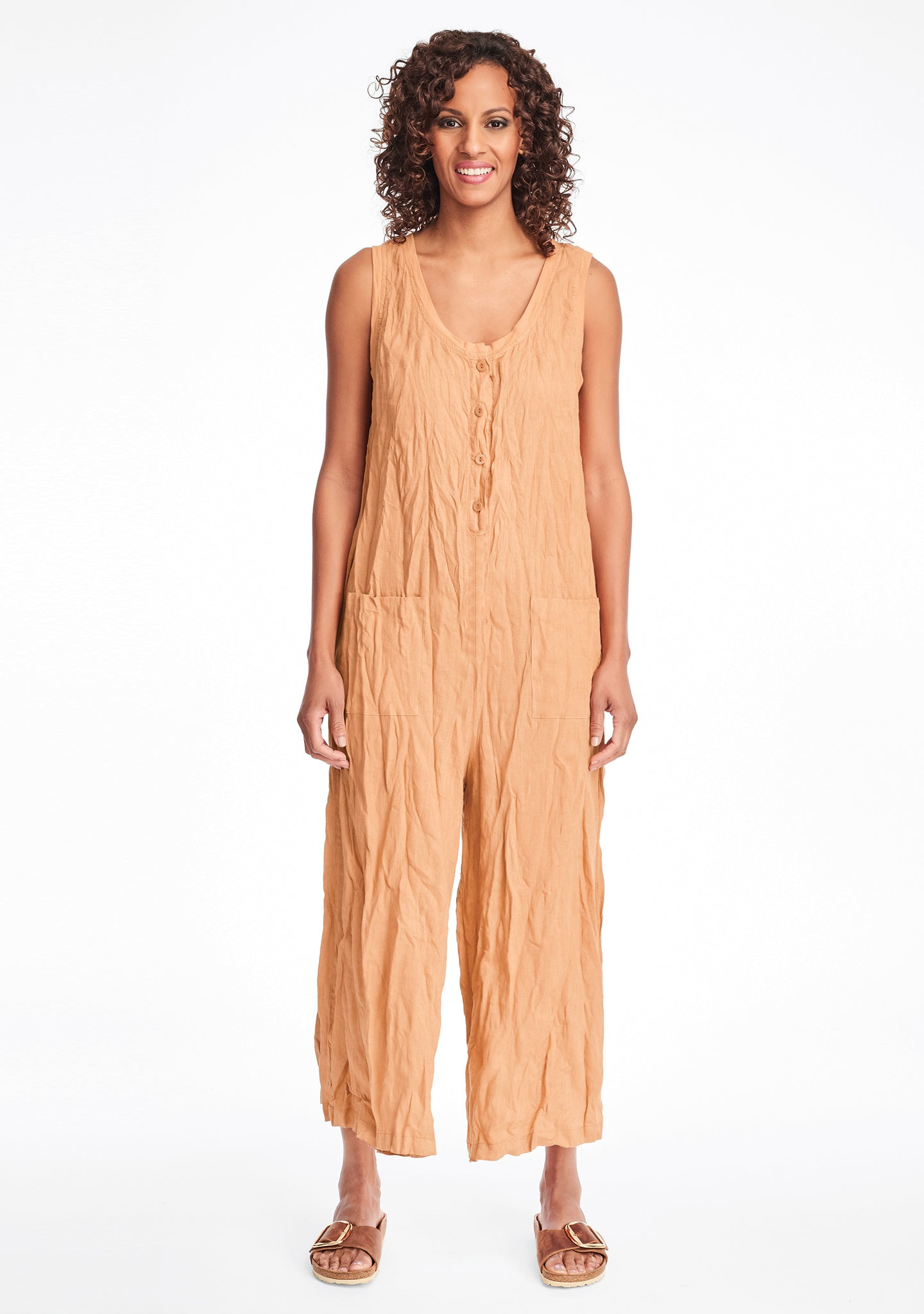 live in jumpsuit linen jumpsuit orange
