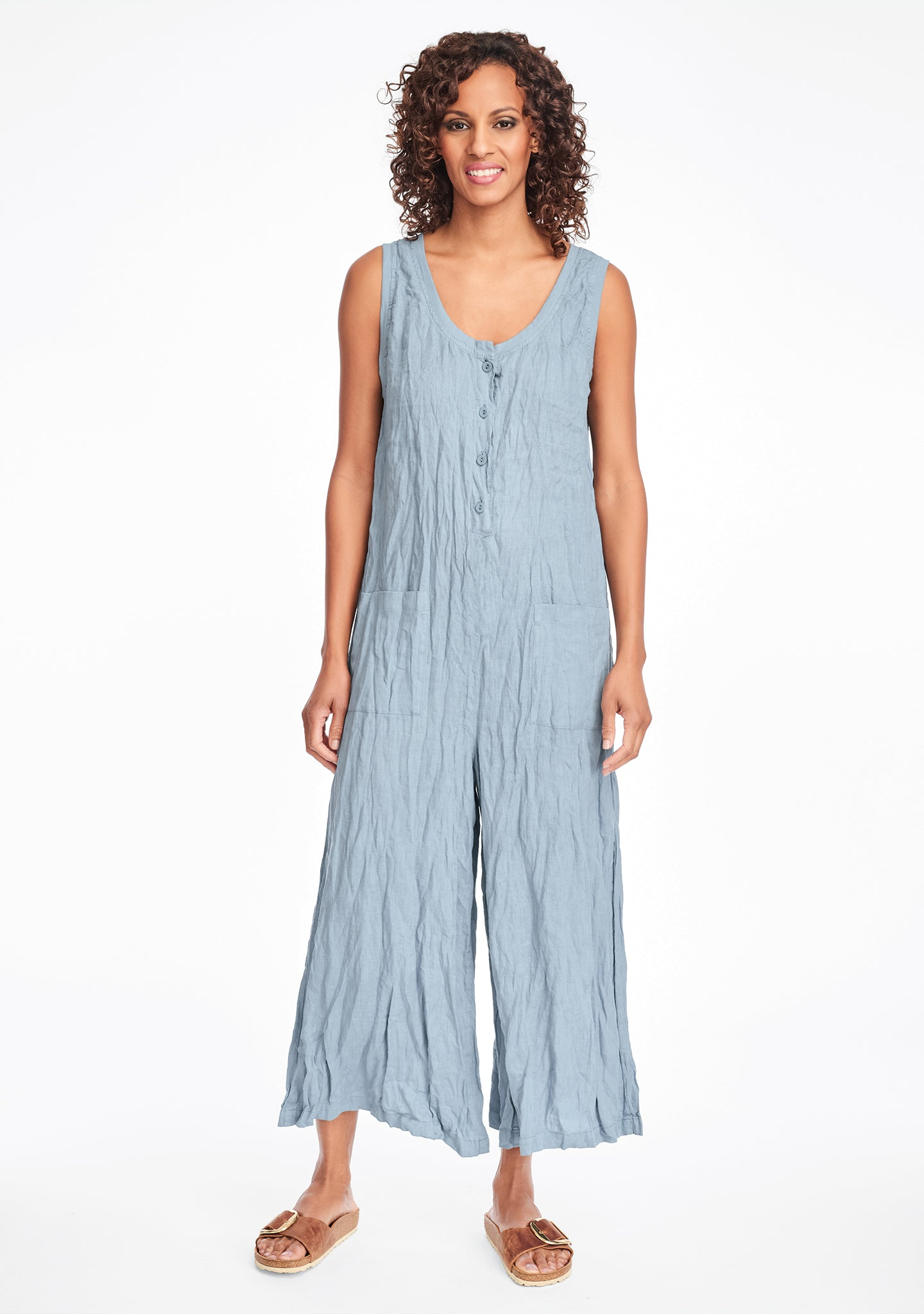 live in jumpsuit linen jumpsuit blue