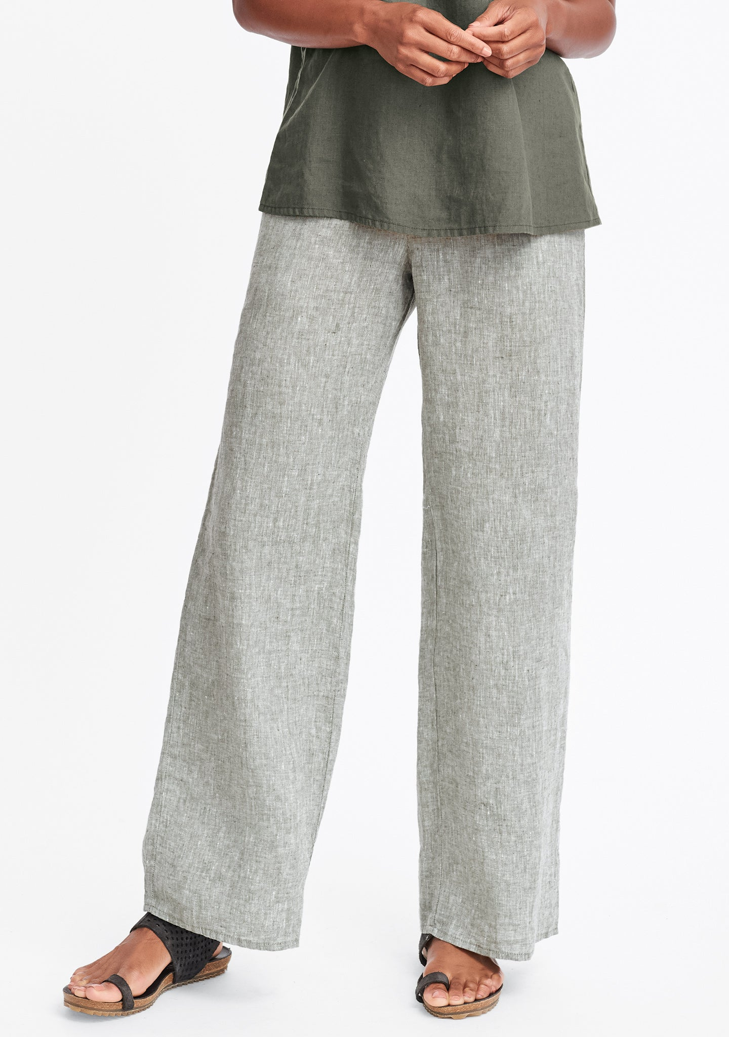 refreshed pant wide leg linen pants green