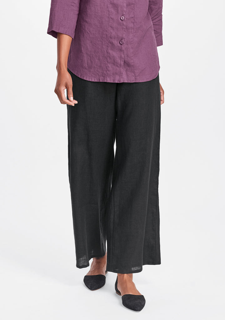 refreshed pant wide leg linen pants black