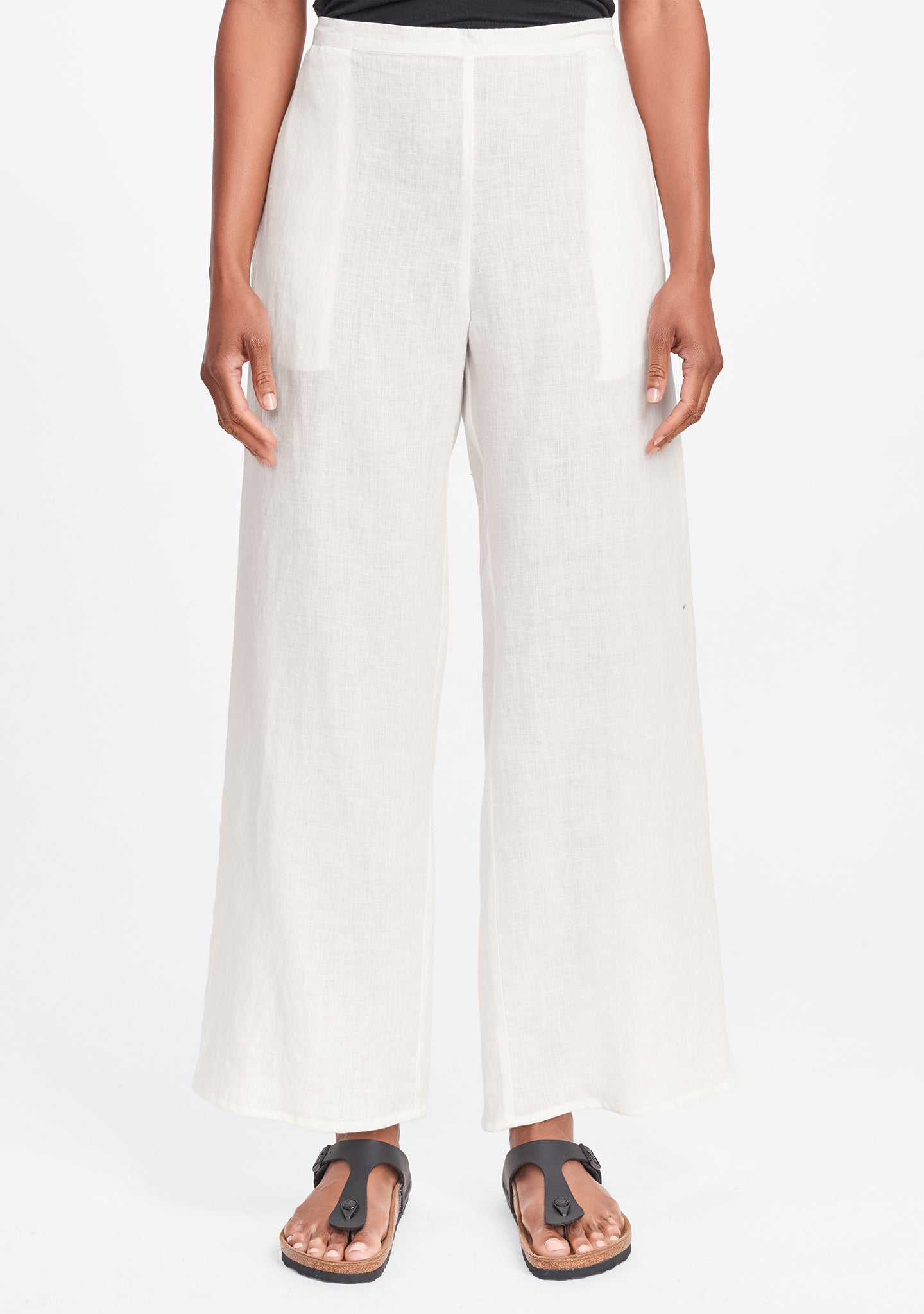 refreshed pant wide leg linen pants white