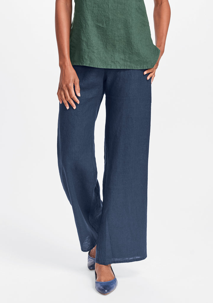 refreshed pant wide leg linen pants blue