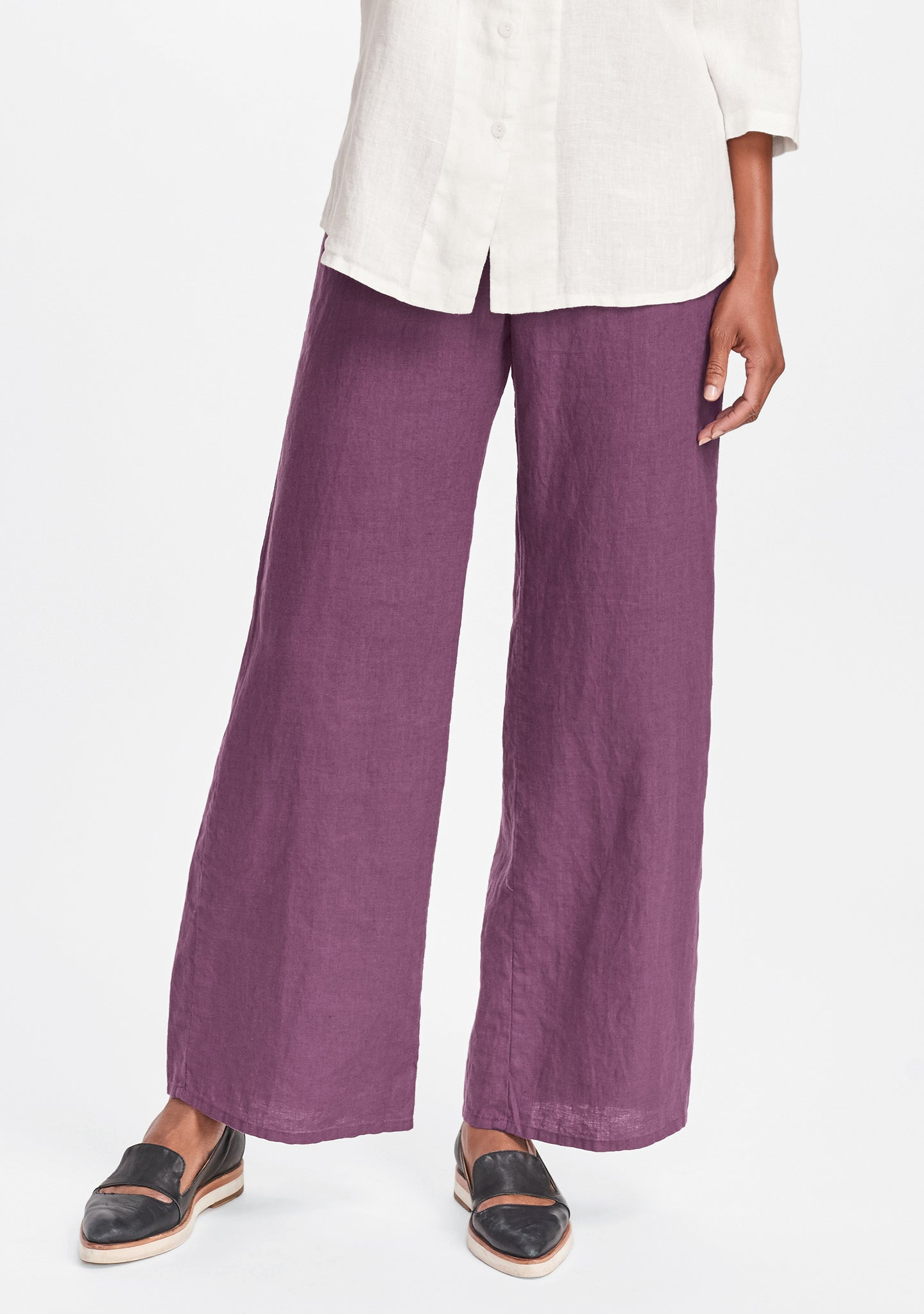 refreshed pant wide leg linen pants purple
