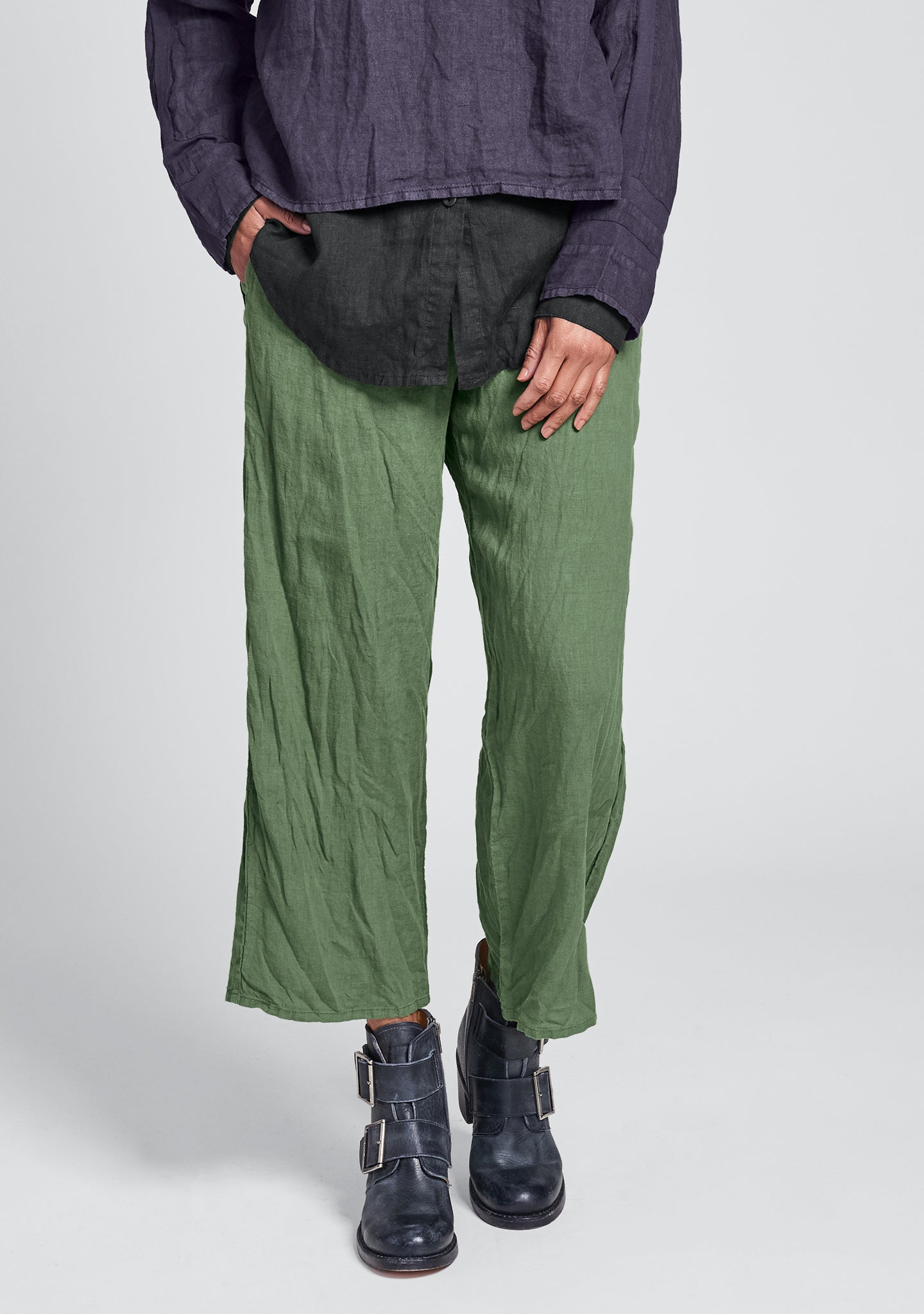 renewed flood linen drawstring pants green