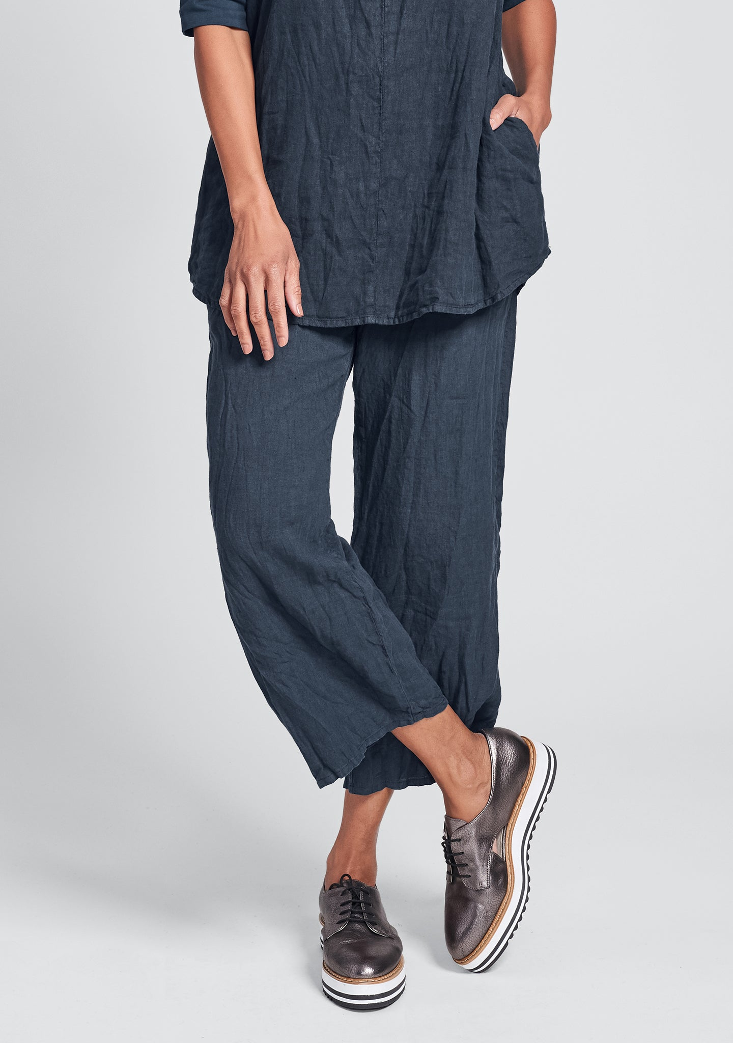 renewed flood linen drawstring pants blue