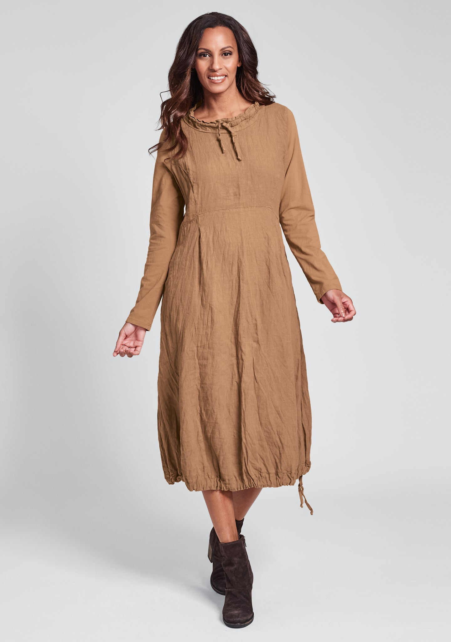 revere dress long sleeve linen dress orange
