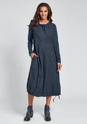 revere dress long sleeve linen dress blue