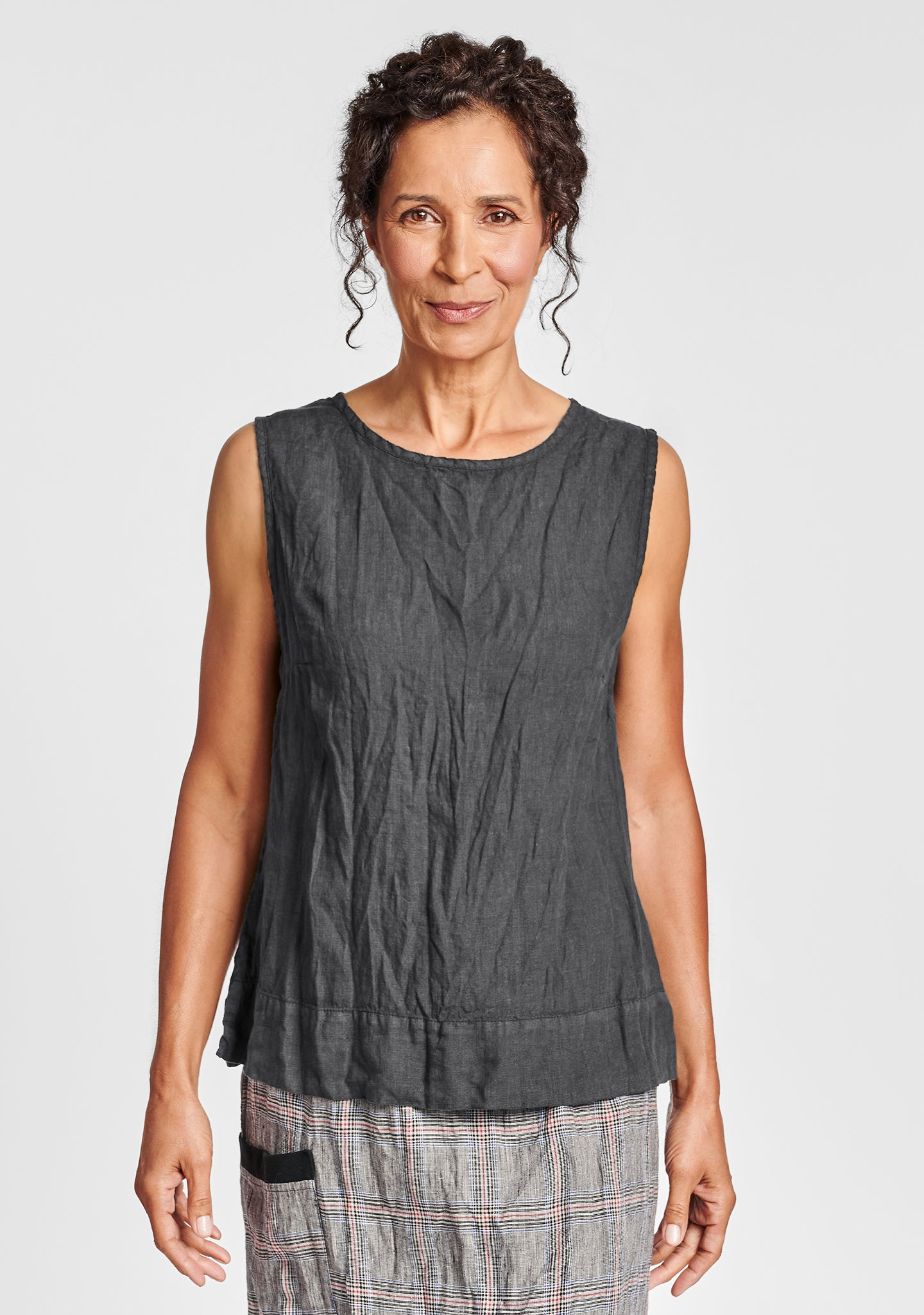 roadie top linen tank top black