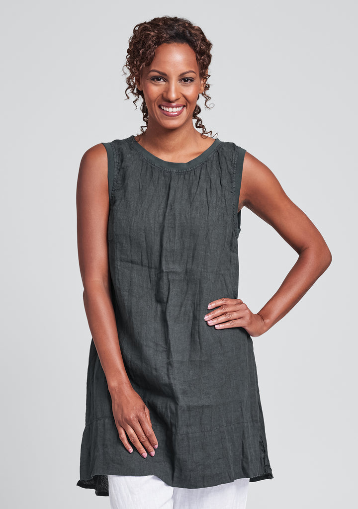 roadie tunic linen tank top black