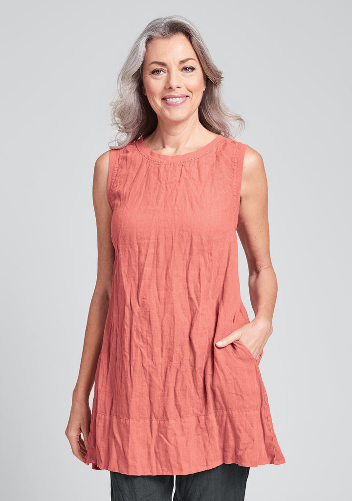 roadie tunic linen tank top red