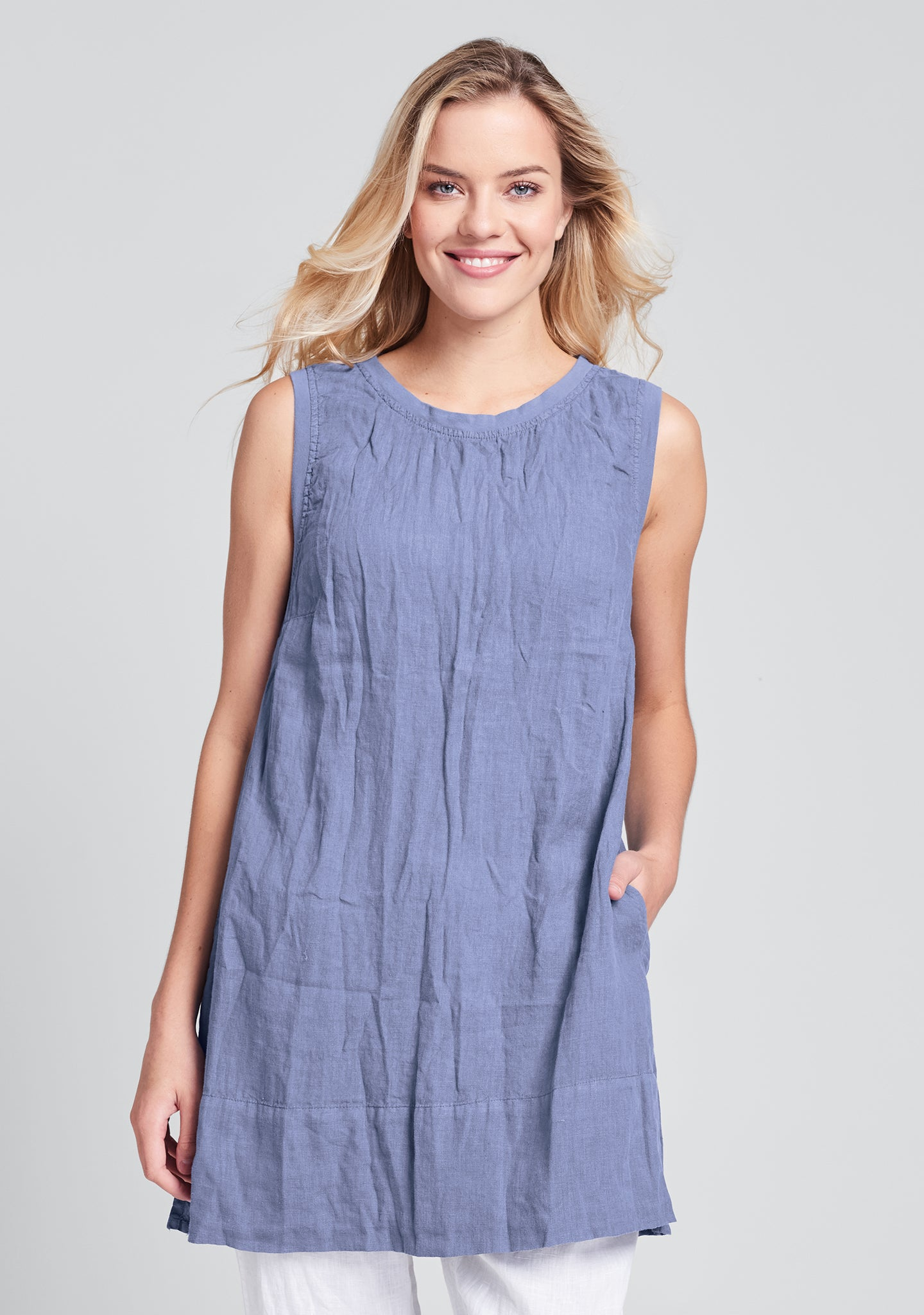 roadie tunic linen tank top blue