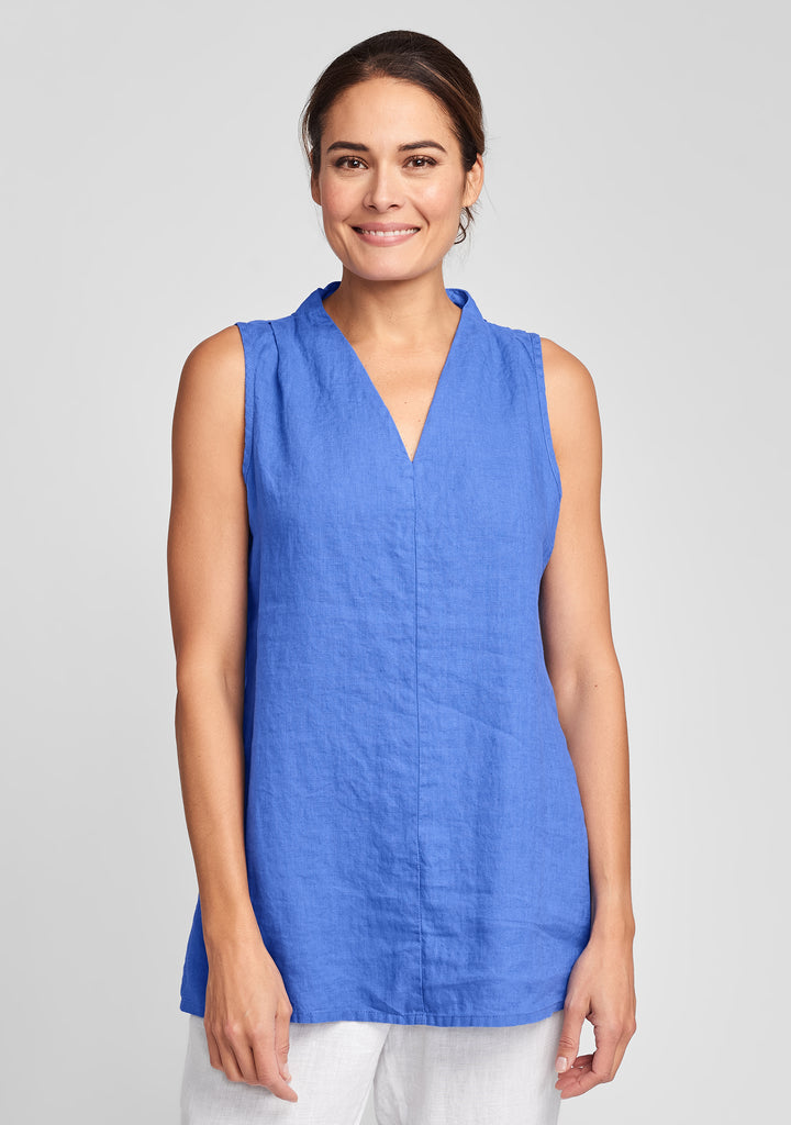 rsvp tunic linen tank top blue