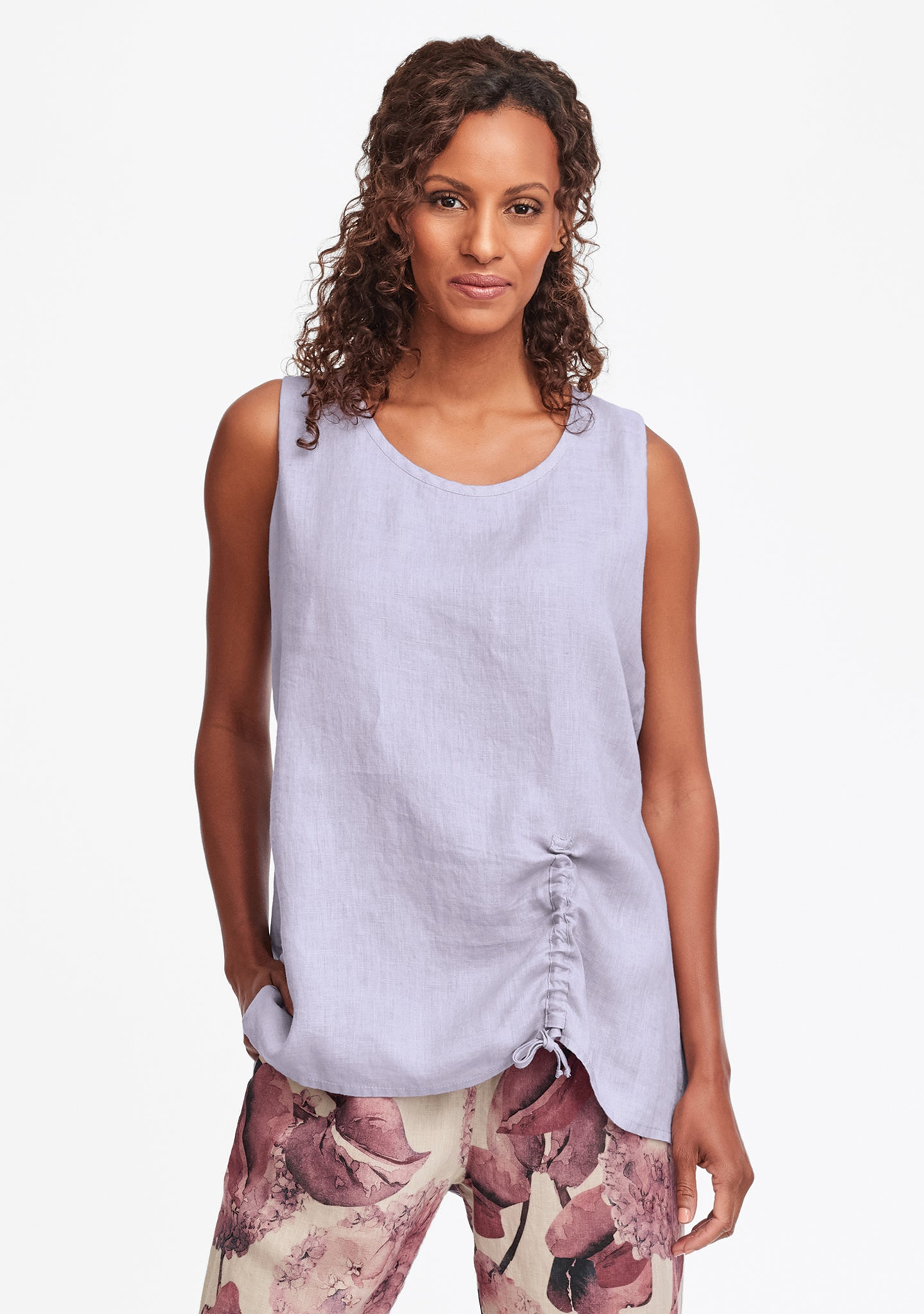 ruched tank linen tank top purple